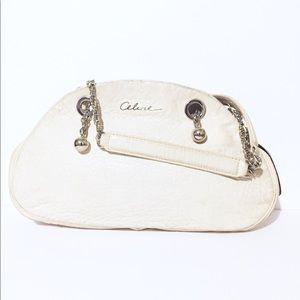 Celine off white leather chain strap shoulder bag